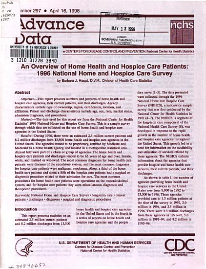 An Overview of Home Health and Hospice Care Patients      National Home and Hospice Care Survey PDF