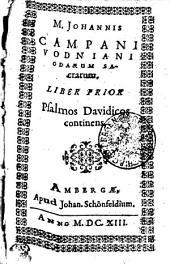 M. Iohannis Campani Vodniani professoris Pragens. Sacrarum odarum: Liber prior