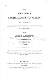 The Myvyrian Archaiology of Wales: Prose