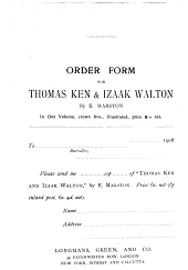 Thomas Ken and Izaak Walton: A Sketch of Their Lives and Family Connection