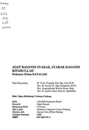 Adat basandi syarak  syarak basandi kitabullah PDF