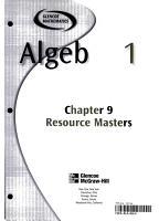 Algebra 1 Chapter 9 Resource Masters PDF