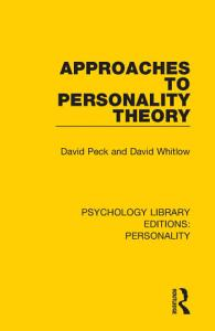 Approaches to Personality Theory Book