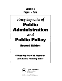 Encyclopedia of Public Administration and Public Policy  Papers Zero