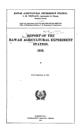 Report on Agricultural Investigations in Hawaii