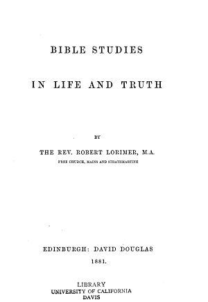 Bible studies in life and truth PDF