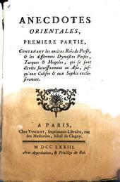 Anecdotes orientales: Volume1