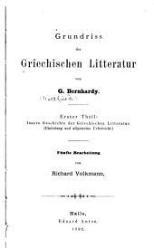 Grundriss der griechischen Litteratur: Band 1