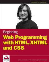 Beginning Web Programming with HTML  XHTML  and CSS PDF