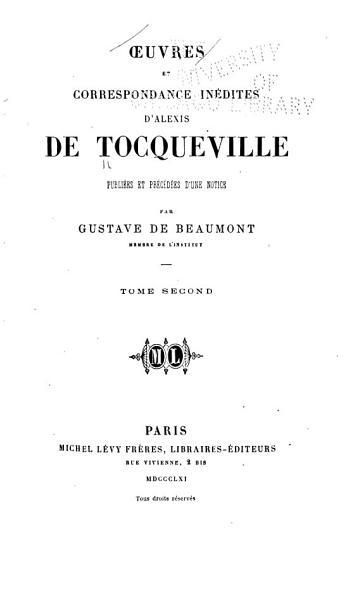 Download Oeuvres Et Correspondance In  dites D Alexis de Tocqueville Book