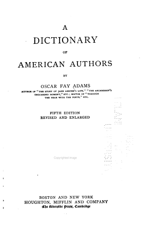 A Dictionary of American Authors