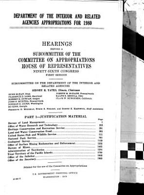Department of the Interior and Related Agencies Appropriations for 1980