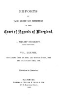 Reports of Cases Argued and Determined in the Court of Appeals of Maryland PDF