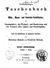 Vollst  ndiges Taschenbuch der M  nz   Maass  und Gewichts Verh  ltnisse PDF
