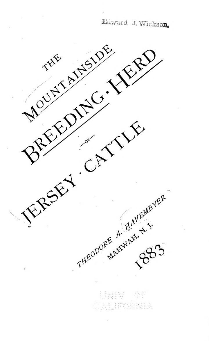 The Mountainside Breeding-herd of Jersey Cattle