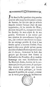 Reply to the speech of C.A. de Calonne to the Assemblée des notables, 22 Feb. 1787. In Fr. Without a title-leaf: Volume 6