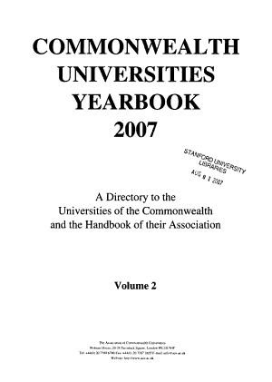 Commonwealth Universities Yearbook PDF