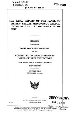 The final report of the panel to review sexual misconduct allegations at the U S  Air Force Academy PDF