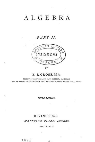Algebra  Pt 2  of the work by J H  Smith   PDF