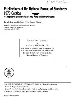Publications of the National Bureau of Standards  1979 Catalog PDF