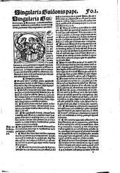 Singularia d[omi]ni Guidonis Pape pontificij ac cesarei iuris doctoris eximij in vtroq[ue] foro quorum materia maxime practicatur ... ex ipsius authoris sumta archetypo