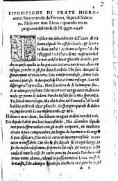 Espositione di Frate Hieronimo Savonarola da Ferrara sopra il Salmo 50. Miserere mei Deus