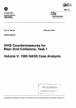 VHS Countermeasures for Rear-end Collisions: Task 1 Interim Report