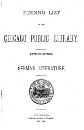 Finding List of the Chicago Public Library: German Literature