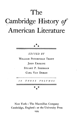 The Cambridge History of American Literature PDF