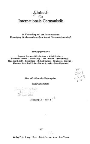 Jahrbuch f  r internationale Germanistik PDF