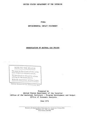 Deregulation of Natural Gas Prices