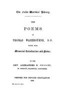 The Poems of Thomas Washbourne  D D  PDF