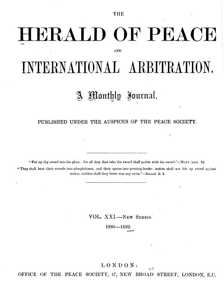 The Herald of Peace and International Arbitration