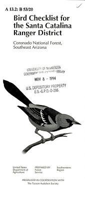 Birds checklist for the Santa Catalina Ranger District: Coronado National Forest, Southeast Arizona