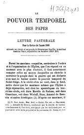 Le pouvoir temporel des papes: lettre pastorale pour le Carême de l'année 1860