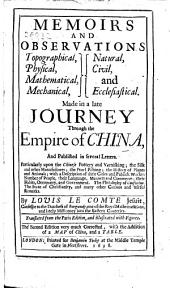 Memoirs and observations ... made in a late journey through the Empire of China ... Translated from the Paris edition ... The second edition very much corrected, with the addition of a map ... and a table