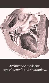Archives de médecine expérimentale et d'anatomie pathologique: Volume10