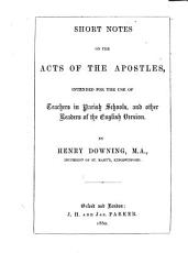 Short notes on the Acts of the Apostles PDF