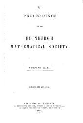 Proceedings of the Edinburgh Mathematical Society: Volume 13