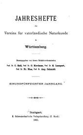 Jahreshefte des Vereins für vaterländische Naturkunde in Württemberg: Band 51