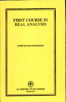 First Course in Real Analysis PDF