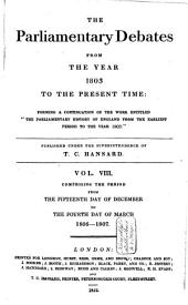 The Parliamentary Debates from the Year 1803 to the Present Time: Volume 8