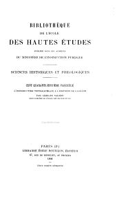 Bibliothèque de l'École des hautes études: Sciences historiques et philologiques, Partie148