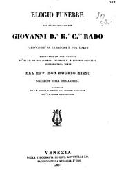 Elogio funebre del reverendissimo don Giovanni Rado parroco dei ss. Ermagora e Fortunato pronunziato da don Angelo Rizzi