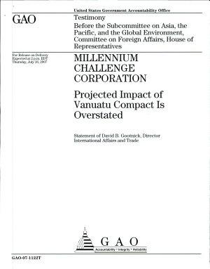 Millenium Challenge Corporation  Projected Impact of Vanuatu Compact is Overstated
