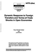 Dynamic Response to Foreign Transfers and Terms-of-trade Shocks in Open Economies: Volume 1061