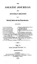 The Asiatic Journal and Monthly Register for British India and Its Dependencies