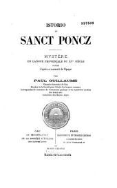Istorio de Sanct Poncz: Mystère en langue provençale du XVe siècle
