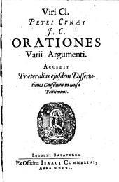 Orationes varii argumenti. Accedit praeter alias dissertationes consilium in causa postliminii