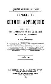 Répertoire de chimie appliquée: Compte rendu des applications de la chimie en France et a l'étranger, Volume5